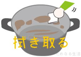 カレーの鍋の汚れをとる